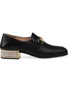 Gucci Black Mister Horsebit Leather Crystal Loafers