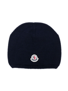 Moncler Kids logo patch knitted beanie
