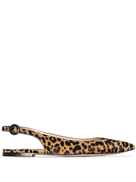 Gianvito Rossi leopard print slingback ballerina shoes