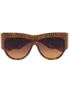 Gucci Eyewear brown crystal embellished oversized tortoiseshell sunglasses
