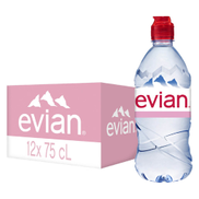 Evian Natural Mineral Water with Sports Cap 750ml x 12 Pieces