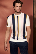 White Pink Vertical Stripe Knitted T-Shirt