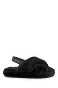 Black Crossover Platform Slider Slippers