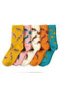 Leopard Bright Ankle Socks Five Pack
