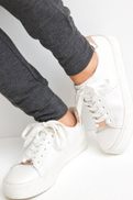 White Black Signature Chunky Leather Lace-Up Trainers